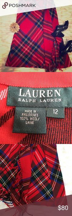 Ralph Lauren plaid wool skirt Beautiful vibrant Ralph Lauren long plaid skirt. Would look great paired with boots. Has a slit and frills along side of hem. Designer luxury at an affordable price! Ralph Lauren Skirts