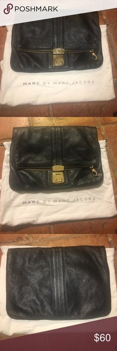 MARC by Marc Jacobs Large Clutch MARC by Marc Jacobs oversized black leather clutch with gold hardware. Includes dust bag. Marc By Marc Jacobs Bags Clutches & Wristlets