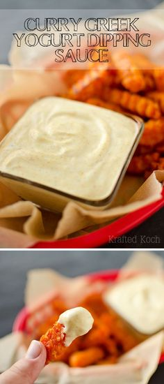 Curry Greek Yogurt Dipping Sauce - Krafted Koch - An amazingly flavorful dipping sauce recipe perfect for sweet potato fries, chicken strips or spring rolls!