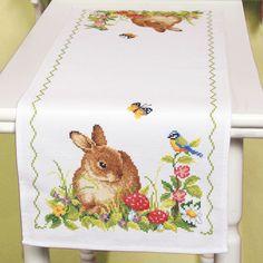 Bunny table runner- 11 ct. Aida cloth. The Stitchery.