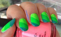 WOW Polish: Color Blocking Nail Art: Use all the Greens!