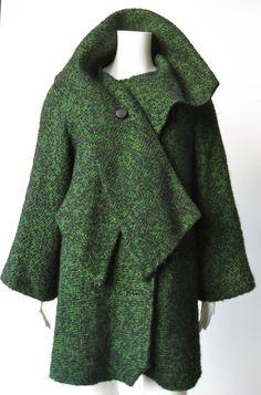 Vintage 1950s Green and Black Tweed Coat