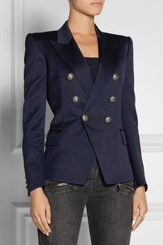 blazer, suit, jacket, nautical, uniform, jeans, woman, Balmain, wool-gabardine