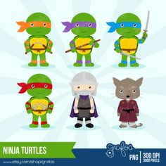 NINJA+TURTLES++Digital+Clipart++Ninja+Clipart+Turtles+by+grafos,+$5.00