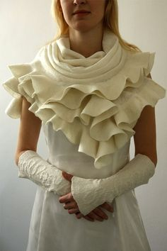 Elegant wedding brides shawl and arm warmers  Handmade by JumiFelt, $162.00