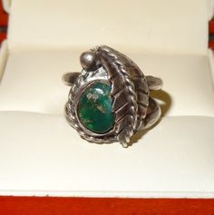 Vintage Sterling Silver and Turquoise Leaf Ring Size 6 by JimRabun, $30.00
