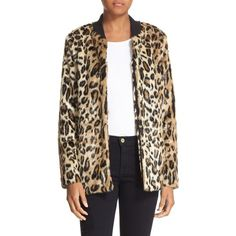 Women's Truth & Pride 'Leo' Faux Leopard Fur Bomber Jacket (480 CAD) via Polyvore featuring outerwear, jackets, multi, leopard bomber jacket, leopard jacket, polka dot jacket, fur jacket and leopard print fur jacket
