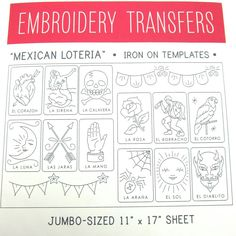 Big Sheet Mexican Loteria Embroidery Pattern
