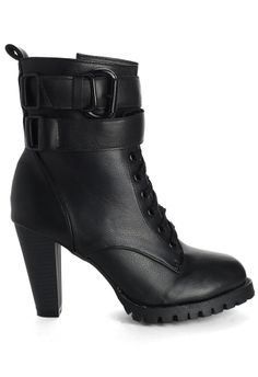 Zip Lace Up Heel Boots in Black - Shoes - Goods - Retro, Indie and Unique Fashion