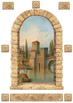 Tuscan Stone Window Peel and Stick Mural - Wall Sticker Outlet Tuscan Wall Decor, Metal Wall Decor, Tile Murals, Mural Wall, Art Niche, World Decor, Murals Street Art, Tuscan House, Grisaille