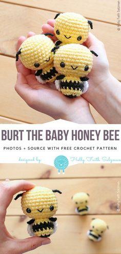 Burt the Baby Honey Bee Free Crochet Pattern - Crafts - Burt the Baby Honey Bee Free Crochet Pattern - Crafts - . Babys BabysFotos Baby Burt the Baby Honey Bee Free Crochet Pattern - Craf Crochet Simple, Crochet Bee, Crochet Patterns Amigurumi, Crochet Gifts, Cute Crochet, Amigurumi Doll, Crochet Dolls, Knitting Patterns, Free Knitting