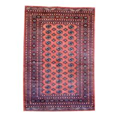 With a distinctive style, a gorgeous area rug from Pakistan will add some splendor to any decor. This Bokhara area rug is hand-knotted with a geometric pattern in shades of salmon, ivory, black and gold.