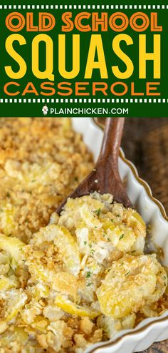 Old School Squash Casserole - a must for your holiday table!!! Loaded with 3 types of cheeses - cheddar, Swiss and parmesan. Seriously delicious! Squash, onion, butter, eggs, sour cream, mayonnaise, cheddar, swiss, thyme, salt, pepper, crushed Ritz crackers and parmesan. Can make ahead of time and refrigerate overnight. SO easy and SO delicious! Everyone LOVES this yummy side dish. #casserole #squash #sidedish #thanksgiving #christmas #easysquashcasserole