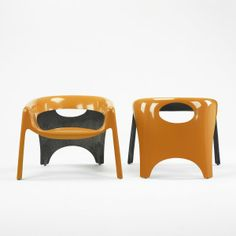 Anonymous; Lacquered Fiberglass Chairs, c1975.