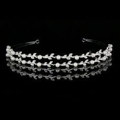 Bridal Wedding Double Headband Crystal Rhinestone Pearl Tiara V686 #Headband