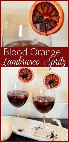 This Blood Orange Lambrusco Spritz is the perfect refresher for your Halloween festivites!