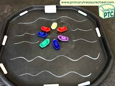 Transport Themed Mark Making Area Ideas / Tuff Tray Activities - Primary Treasure Chest