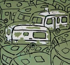 "Mark Glassman  ""Caravans in green""  17x17 inches  Mixed media on canvas http://www.markglassman.org.uk/caravan.html Caravan Painting"