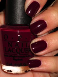 Burgundy nail enamel Very pretty color... Would look good on the toes as well.
