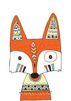 Nursery Print Tribal Prints Fox Prints от TheKidsPrintStore