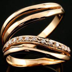 [送料無料]ペアリング 結婚指輪 マリッジリング ピンクゴールドk18 ダイヤモンド ウェーブライン ハンドメイド 2本セット18k 18金【楽ギフ_包装】