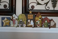 Various Christmas 'pages' connected. Diy Christmas Art, Christmas Nativity, Christmas Goodies, Christmas Projects, All Things Christmas, Christmas Decorations, Christmas Ornaments, Diy Nativity, Nativity Sets