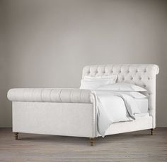 Chesterfield Fabric Sleigh Bed With Footboard