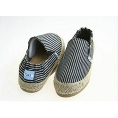 $29.78!! Toms Stripes Flax Outsole Men Black Shoes