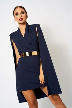 Kleider Navy Blue Cape Blazer Mini Dress [product_collection] - Club L London ClubL Investing In You Blue Dress Outfits, Blazer Outfits, Blazer Dress, Blazer Fashion, Navy Blue Outfits, Sleevless Blazer, Casual Blazer, Classy Dress, Classy Outfits