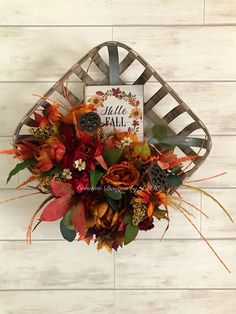 """This fall farmhouse tobacco basket arrangement measures 16 inches by 16 inches and inches in depth. Beautiful flowers and leaves of fall , and a small wooden sign,""""Hello Fall"""" embrace the basket. It would be a great wall or door decor for fall Fall Deco Mesh, Deco Mesh Wreaths, Fall Wreaths, Door Wreaths, Bicycle Wheel Decor, Tobacco Basket Decor, Farmhouse Baskets, Baskets On Wall, Wall Basket"""