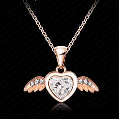 Item Type: NecklacesFine or Fashion: FashionBrand Name: ANFASNINecklace Type: Pendant NecklacesMetals Type: Tin AlloyShape\pattern: HeartGender: WomenStyle: Angel Wing Necklace, Dog Tag Necklace, Arrow Necklace, Crystal Pendant, Crystal Necklace, Pendant Necklace, Girls Jewelry, Cupid, Rose Gold Plates