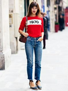 A bold sweater tucked into mom jeans and lace-up espadrilles build an ultra-stylish look. // #StreetStyle