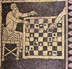 The Cathedral floor in San Savino Cathedral, Piacenza.There is a monochrome chessboard showing two figures playing chess. This chess scene is part of a Zodiac and 4 combat scenes beautifully layed out in the Crypt. The mosaic was probably created ca. Medieval Manuscript, Illuminated Manuscript, Mosaic Diy, Mosaic Tiles, Fresco, History Of Chess, Medieval Games, Byzantine Art, Stone Mosaic