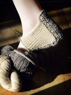 Knit slipper in progress
