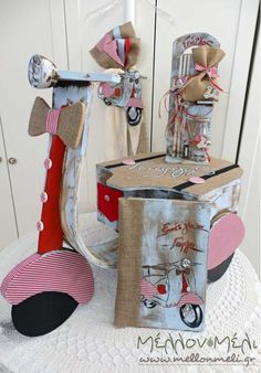 """Set βάπτισης """"Vespa red"""" Baby Party, Vespa, Christening, Christmas Stockings, Tags, Holiday Decor, Board, Wedding, Ideas"""