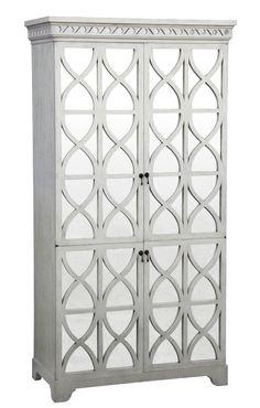Elisabeth Armoire - One-Piece w/Split Antiqued Mirror, Doors & Three Adjustable Shelves