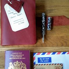 Gifts for all!  Leather travel journals in a choice of colour. Shown here in burgundy.