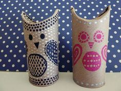 Cute owls made from toilet paper rolls