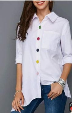 Irregular Thin Women Office Lady Shirt Top Plus Size Colorful Button White Long Sleeve Feminine Blouses Tops Summer Lady Shirts Casual Outfits, Fashion Outfits, Fashion Fashion, White Shirts, Summer Tops, White Long Sleeve, Shirt Blouses, Blouse Designs, Blouses For Women