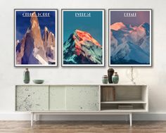 MOUNTAIN Set of 3 Poster Modern Triangle Art of by ArchTravel
