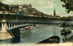 Ce pont, détruit par les allemands le 2 septembre 1944, n'a jamais été reconstruit. Seules les culées - maçonneries destinées à recevoir le tablier - sont visibles encore aujourd'hui #numelyo #Lyon #pont #2GM #WW2 Lyon, France, Vintage, Alps, French Countryside, Places, Photography, Corse, City