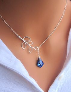 Bermuda Blue and Branch lariat necklace in by RedEnvelopeGifts, $26.00