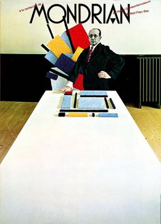 Tongue in cheek was not something which one applied easily to the heritage of Piet Mondriaan. But Gert Dumbar did it anyway. Type for this poster (1972) was derived from decorative lettering on shopwindows of hip boutiques.