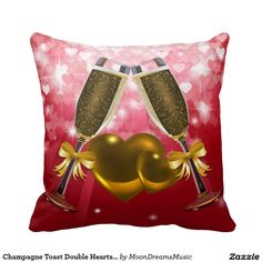 #ChampagneToast #DoubleHearts #BrownAndRed Hearts #SquareThrowPillow by #MoonDreamsMusic
