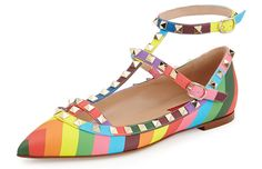 Valentino 1973 Rainbow Rockstud Leather Flats