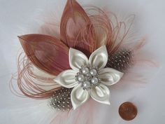 Blush Bridal Hair Fascinator Peacock Feather by NakedOrchidGarters