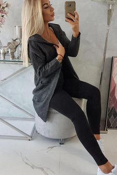 Cardigan dama cu gluga si buzunare gri-inchis. #cardigancugluga #cardigandama #puloverdama Cardigan Outfits, Guess Jeans, Black Jeans, Elegant, Pants, Fashion, Classy, Trouser Pants, Moda