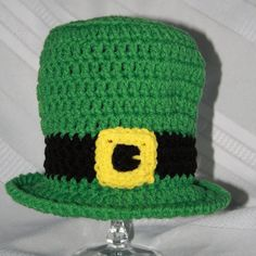 Whether youre Irish for a day, or Irish for life, this crochet Leprechaun hat is sure to be a big hit! Perhaps you are having a March baby? This set would be the perfect addition to your little ones first photo shoot! Your little one will surely steal the show!  This 3 piece Newborn set is made from high quality premium acrylic yarn. It includes a little green top hat, legwarmers crocheted in green and white stripes, and a bow tiewhich has a strap with an adjustable button for a perfect fit…
