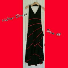 High-low Halter Dress Enjoy this black trimmed in red halter Dress with High-low and ruffled bottom great for the summer size medium. It is a true to size. Worn once. Dresses Prom