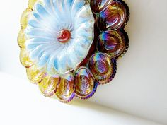 Colorful Spring Garden Art Carnival Glass Egg Plate Flower Yard Patio Decor Suncatcher Reclaimed Material Repurpose Upcycle Stake Marker ASH